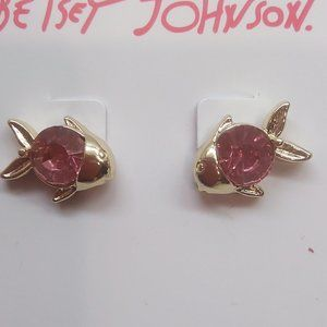 Betsey Johnson New Pink Fish Earrings